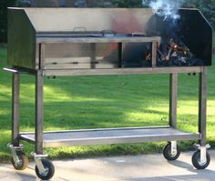 "This has been an ongoing project for the better part of six months now. Mike ""Th. - This has been an ongoing project for the better part of six months now. Mike ""The Grill Guy"" Sc - Hibachi Grill, Bbq Grill, Barbecue, Gaucho, Dutch Oven Table, Smoker Designs, Smoke Bbq, Grill Restaurant, Stainless Steel Bbq"