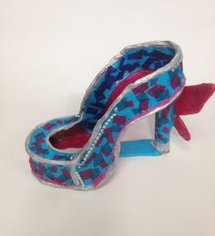 Mollie, Y9 card and tissue paper Surreal Shoe model. St Mary's Catholic High School