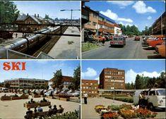 Akershus fylke Ski kommune  Ski. Tog/biler. 4-bilders kort Utg Aune Stemplet 1985