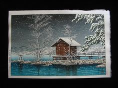 """Kansau Shrine in Snow at Lake Tazawa"""