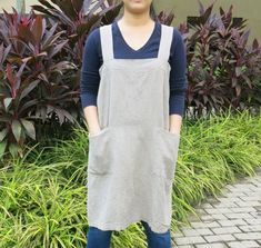 SALE Pinafore Apron Heavyweight 100% Flax Linen by mylinenart