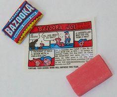 Bazooka, met stripverhaaltje!! Kochten we bij het zwembad!