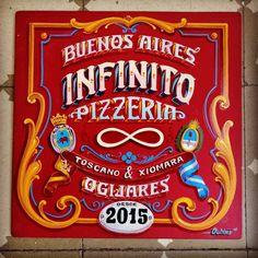 Fileteado Porteño para @pizzeria.infinito. 🎨 🍕🍻. Gracias la espera y por confiarme este trabajo. . #fileteadoporteño #fileteado #españa… Sign Maker, Typography, Lettering, Calligraphy Letters, Art For Art Sake, Type Design, Street Food, Design Inspiration, Sport