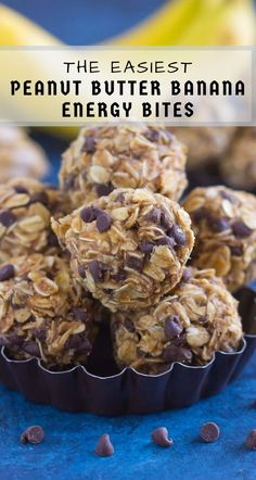Packed with hearty oats, creamy peanut butter, bananas, and a sprinkling of chocolate, these no-bake Peanut Butter Banana Energy Bites make the perfect, on-the-go breakfast, snack, or even dessert!  #energybites #peanutbutter #peanutbutterenergybites #bananaenergybites #energybitesrecipe #healthybreakfast #breakfast #healthysnack