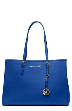"I prefer to call this ""TARDIS blue"".  Travel essential - Michael Kors Jet Set tote."