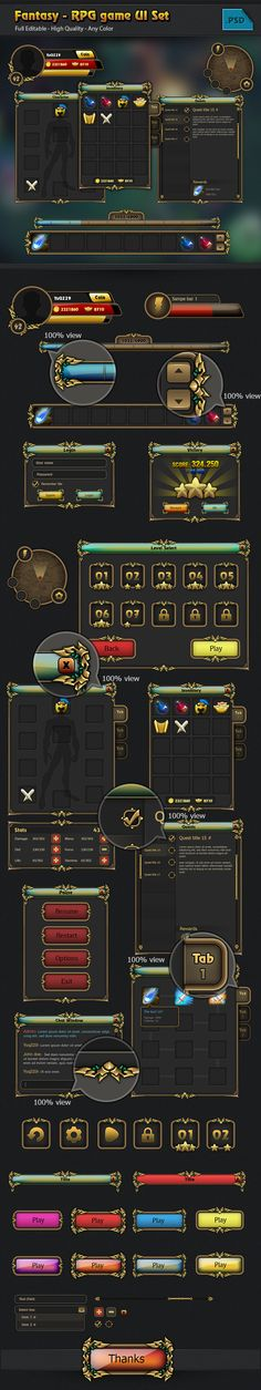 RPG game Gui set on Behance