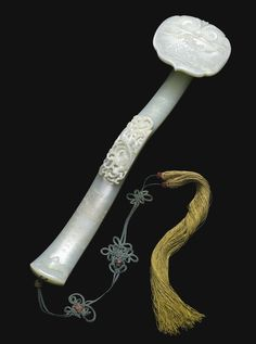 EMPERORS' PLAYTHINGS - A CONNOISSEUR'S COLLECTION: AN EXCEPTIONAL INSCRIBED PALE GREEN JADE RUYI SCEPTRE, SIGNED YONG XUAN, QING DYNASTY, 18TH CENTURY. POSSIBLY PRESENTED TO THE JIAQING EMPEROR. Le Jade, Jade Green, White Jade, Asian Art Museum, Qing Dynasty, China Art, Jade Jewelry, Minerals And Gemstones, Ancient Artifacts