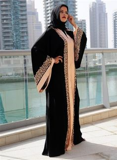 latest Dubai Designer Stylish Black Plain Abaya Designs Collection for women consisting of trendy styles of abaya gown style, fish tale & maxi style abayas! Arab Fashion, Islamic Fashion, Muslim Fashion, Celebrities Fashion, Abaya Designs Latest, Abaya Designs Dubai, Niqab, Burqa Designs, Dubai Fashionista