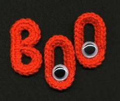 "Original pinner said, ""Free Crochet Pattern - Halloween ""BOO"" Fridgies"
