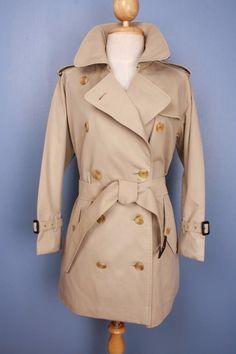 Womens BURBERRY Bespoke Short TRENCH Coat Mac Beige 12/14