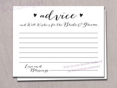 Review: Very cute! Just what I have been looking for to use at my wedding.  Wedding Day Advice for the Bride and Groom Card  Instant Download DIY printable Easy 4 per page, 2 cuts, DIY on your own card stock!