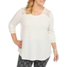 681471d3569a7 Plus Size Faded Glory Women s Plus Thermal Tunic with Shoulder Lace Detail