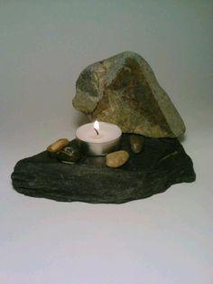 Tealight Candle Holder Slate Stone Pebbles by DeerwoodCreekGifts, $20.00
