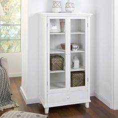 Fiord vitrina doble Balcony Design, Storage Cabinets, White Wood, China Cabinet, Cupboard, Baby Room, Bookcase, Shelves, House Design