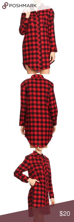 Boyfriend Style Plaid Flannel Tunic Shirt Plaid long sleeve button down tunic shirt in a relaxed style with a front chest pocket, side pockets and rounded hem. 100% Cotton Imported Double chest pockets, side pockets and rounded hem. Relaxed fit boyfriend button down tunic shirt. Please refer to our size chart provided in the last product images for further details. Tops Button Down Shirts