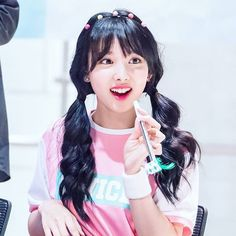 nayeon in pink and in pigtails too cute for this world