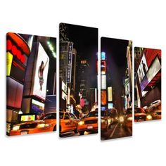 """Picture - art on canvas times square length 51"""" height 31,5"""", four-part parts model no. XXL 6166 Pictures completely framed on large frame. Art print Images realised as wall picture on real wooden framework. A canvas picture is much less expensive than an oil painting poster or placard by Visario, http://www.amazon.co.uk/dp/B0056NBT6K/ref=cm_sw_r_pi_dp_vyNSqb0CWBJC8"""