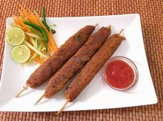 Soya seekh kabab-Kababs made with bengal gram and soya chunks