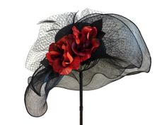"""Women's Kentucky Derby Hat, Spring Fashion, Easter Hat, Garden and Tea Party Hat in Black and Red - """"NOIR ET ROUGE"""""""