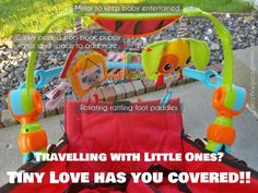 Travelling with Little Ones? Tiny Love has you covered!! #Giveaway (ends 9/2) One lucky winner will receive BOTH the Spin 'N' Kick Discovery Arch and the Crinkly Raccoon toy!!