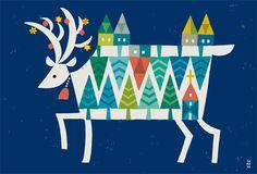 季節 - イラストレーター スズキトモコ|tomo-com.com Modern Christmas, Christmas Art, Xmas, Moose Art, Banner, Kids Rugs, Graphic Design, Seasons, Quilts