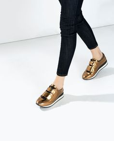 GOLD SNEAKERS WITH VELCRO-Woman-NEW THIS WEEK | ZARA United States