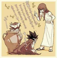 Tags: Anime, Yu-Gi-Oh!, Yami Yugi, Little Boy, Pharaoh Atem, Little Girl, Hosoime