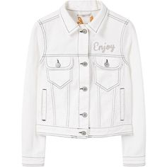 MANGO Embroidered Denim Jacket (4405 DZD) ❤ liked on Polyvore featuring outerwear, jackets, coats & jackets, tops, long sleeve jean jacket, long sleeve denim jacket, white jacket, white jean jacket and embroidered jean jacket