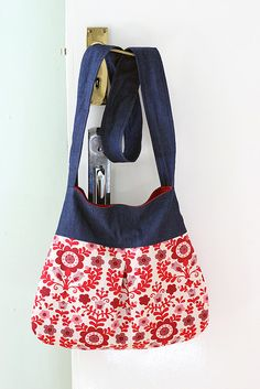 floral and denim bag
