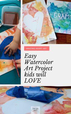 Easy Watercolor Art Project kids will LOVE: Heart Art. Learn how to create easy watercolor art project for kids of all ages. Craft Projects For Kids, Diy Crafts For Kids, Art Projects, Kids Diy, Baby Crafts, Watercolor Art Diy, Watercolor Projects, Heart Artwork, Atelier