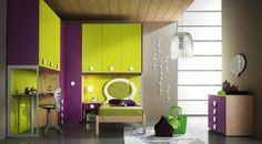 purple and chartreuse interiors