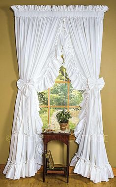 Cottage Ruffled Curtains – The Curtain Cottage Ruffle Curtains, Cute Curtains, Shabby Chic Curtains, Beautiful Curtains, Cottage Curtains, Country Curtains, Priscilla Curtains, Cortinas Shabby Chic, Farmhouse Window Treatments