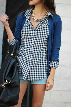 gingham, cardi, and denim shorts.  Easy summer style