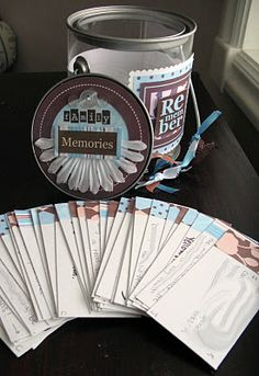 A special gift: can of memories - Everyone (friends, children, etc) writes a note of a favorite memory, funny time -whatever... Give to parents, friend, etc. - NOTE - (make sure they are not BAD memories) - Maybe even add favorite things about the person (s) the gift is for.
