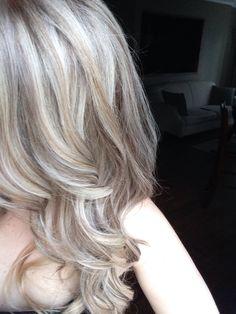 Medium ash blonde with platinum baby highlights