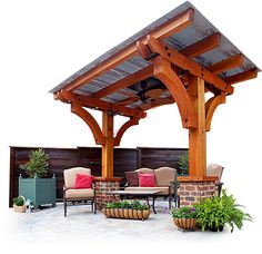 pergola with tin roof, two beams