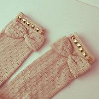 Studded crochet bow socks
