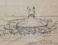 E. Besozzi pitt. 1955 Circo pennarello su carta cm. 38,5x28,5 arc. 1077