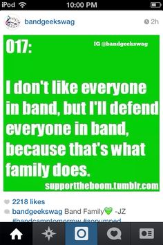 """As our Music Teacher says, """"Band is a family and even if you dont like someone they are still part of our band family and we have to get along with each other."""""""