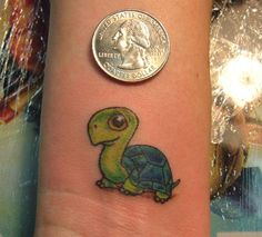tiny turtle in tattoos by Patrick the Bear by Trinity Tattoo Company