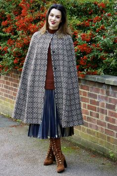 Cape Pattern, Capes & Ponchos, Winter Day, Cloak, Skirt Outfits, Tweed, Wraps, Skirts, Fashion