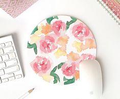 Floral mousepad   ronde mousepad   muis pad vintage   muismat bloemen   Mouse pad goud   leuke muismat   muismat ronde Bureau accessoires