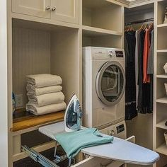 Walk In Closet with Pull Out Ironing Board Drawer