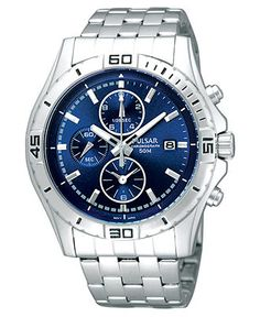 Pulsar Watch, Men's Chronograph Stainless Steel Bracelet PF8397 - Men's Watches - Jewelry & Watches - Macy's    $116