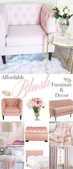 Sharing pieces of blush pink furniture under $100 and $200! I'm also sharing lots of other gorgeous blush furniture and blush decor. Come and see!