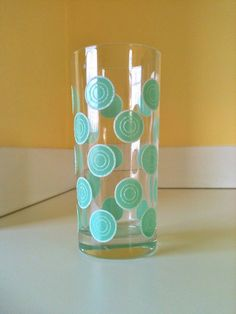 Vintage Fiesta Ware Aqua Dotted Drinking Glass