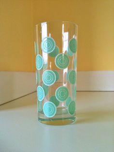 Vintage Fiesta Ware Aqua Dotted Drinking Glass