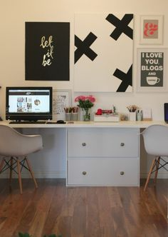 The perfect home office, catering for 3 workspaces...as seen on Katrina from the Block