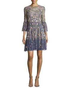 Embellished+Dragonfly+Garden+Mini+Dress,+Slate+Blue+by+Needle+&+Thread+at+Neiman+Marcus.