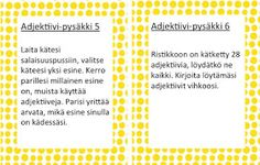 OpenIdeat: Sanaluokat: adjektiivit ja sijamuotoja Grammar, Literacy, Periodic Table, Literature, Language, Classroom, Teaching, Activities, Writing